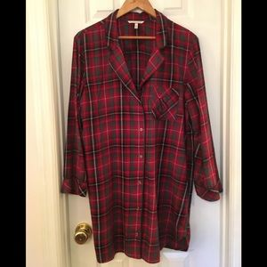 🌿Victoria's Secret Red Plaid Nightshirt M